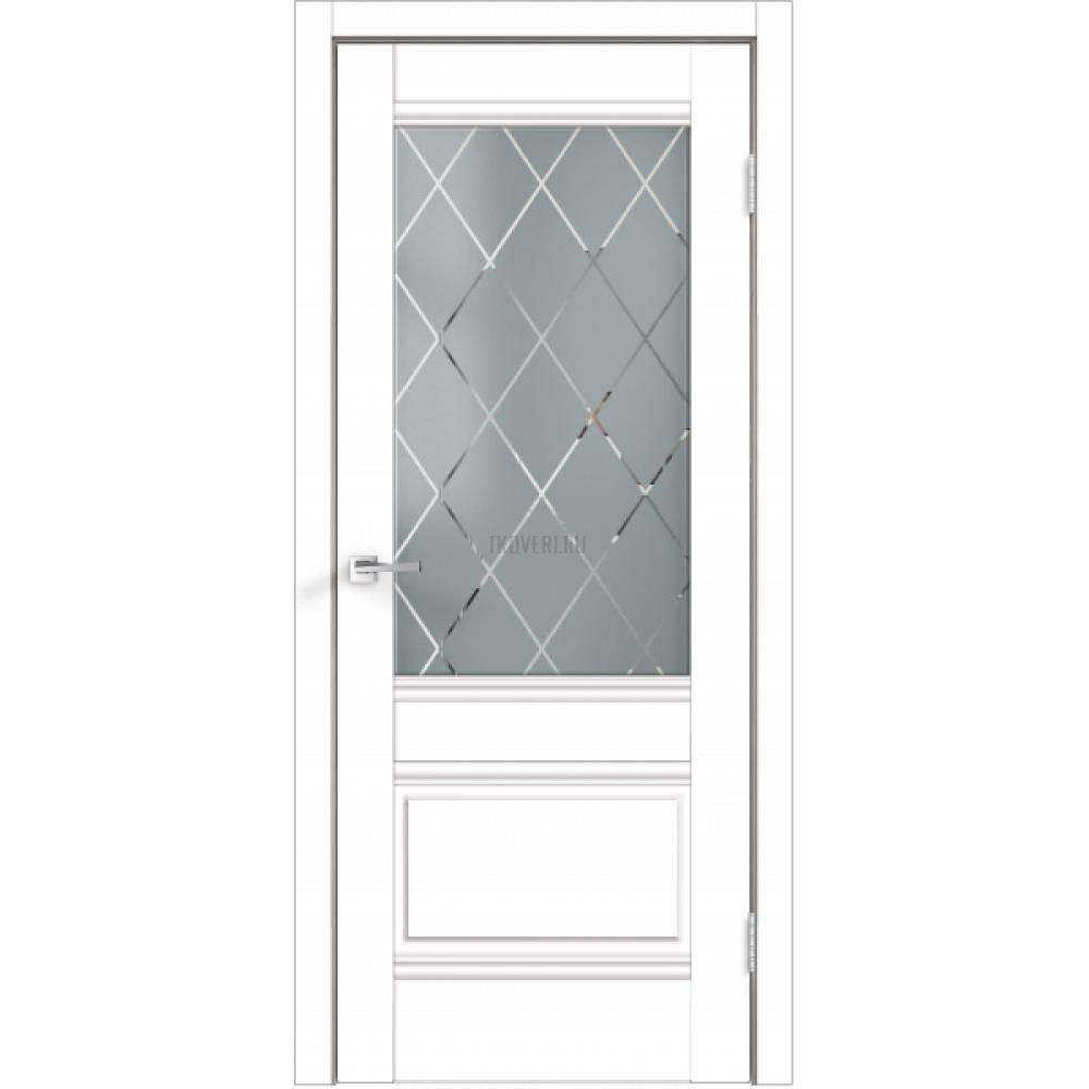 Дверь Экошпон ALTO 2V цвет Белый Эмалит стекло РОМБ светлый