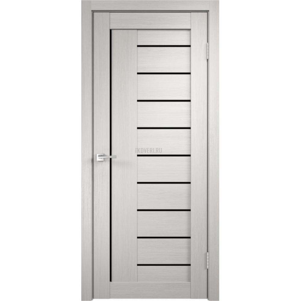 Дверь Экошпон LINEA 3 цвет Дуб белый стекло Лакобель черное