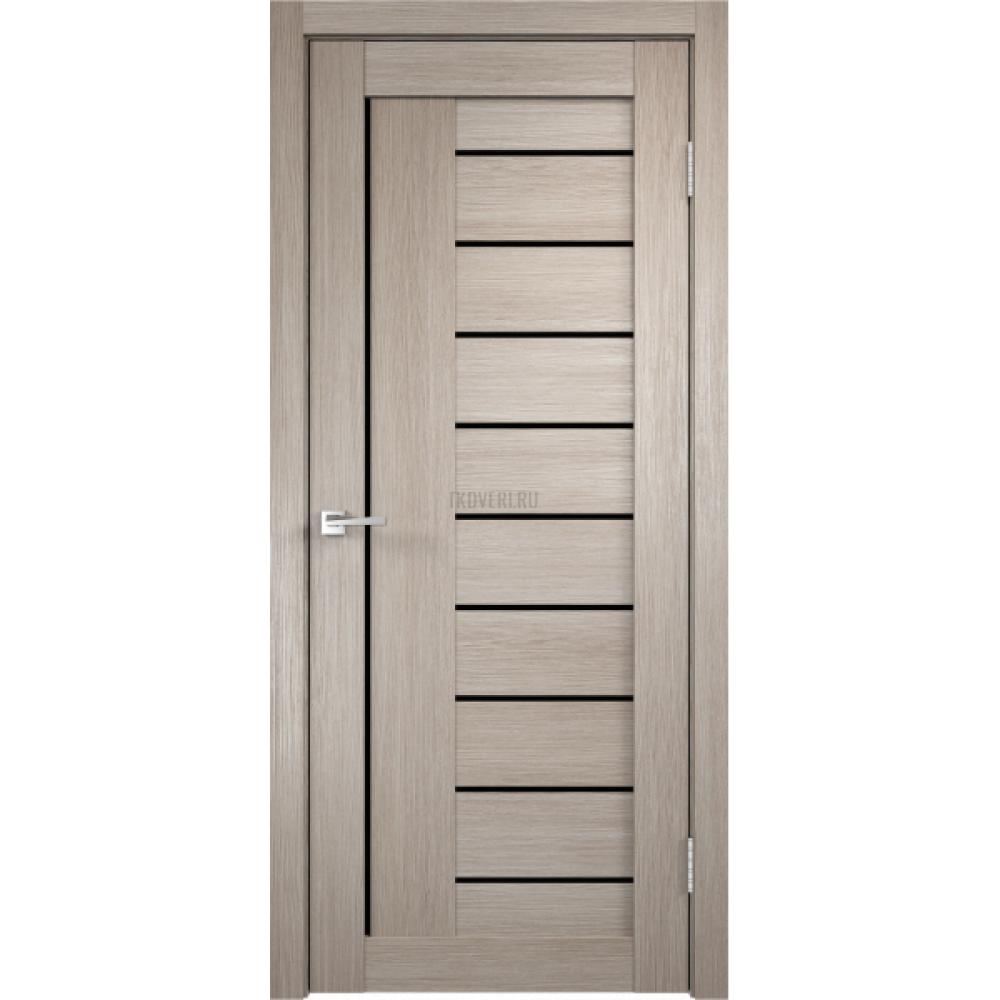 Дверь Экошпон LINEA 3 цвет Капучино стекло Лакобель черное