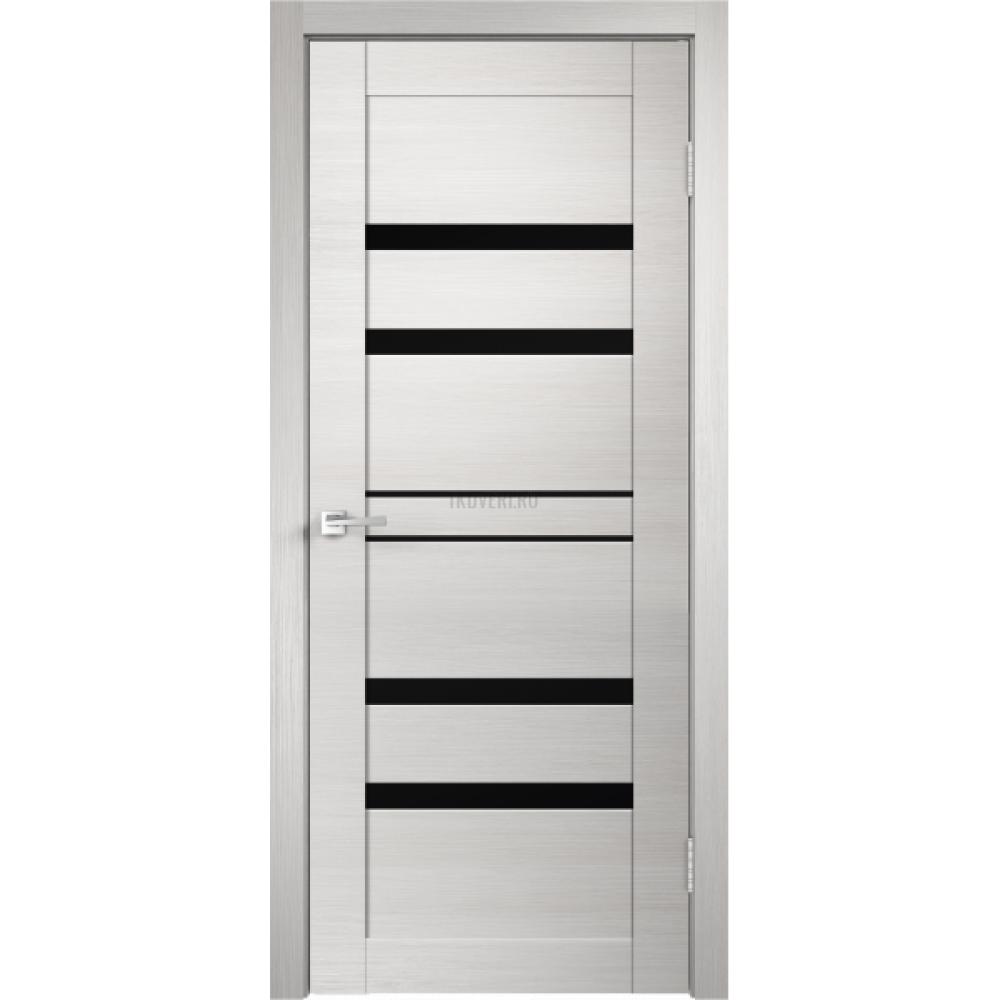 Дверь Экошпон LINEA 6 цвет Дуб белый поперечный стекло Лакобель черное