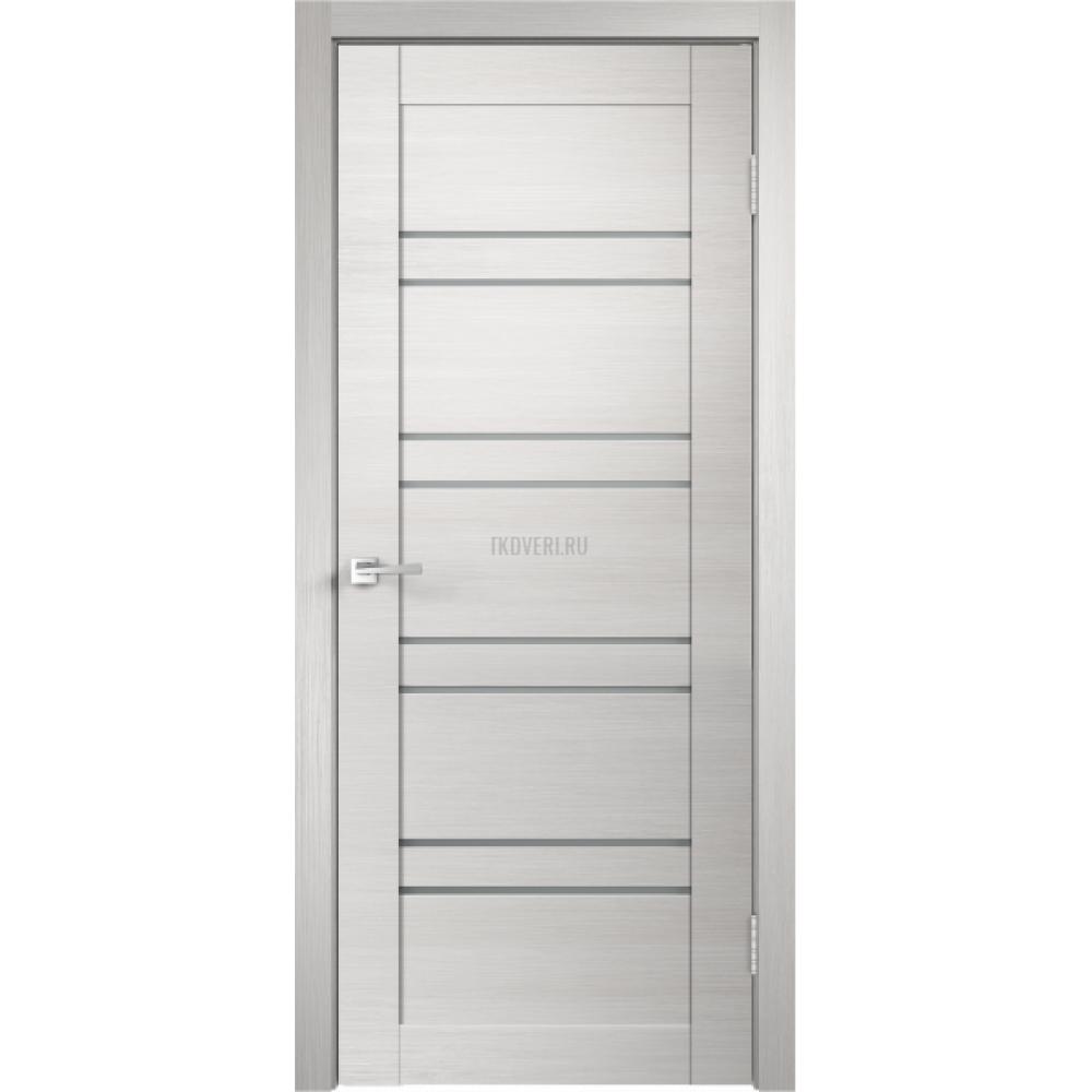 Дверь Экошпон LINEA 8 цвет Дуб белый поперечный стекло Мателюкс