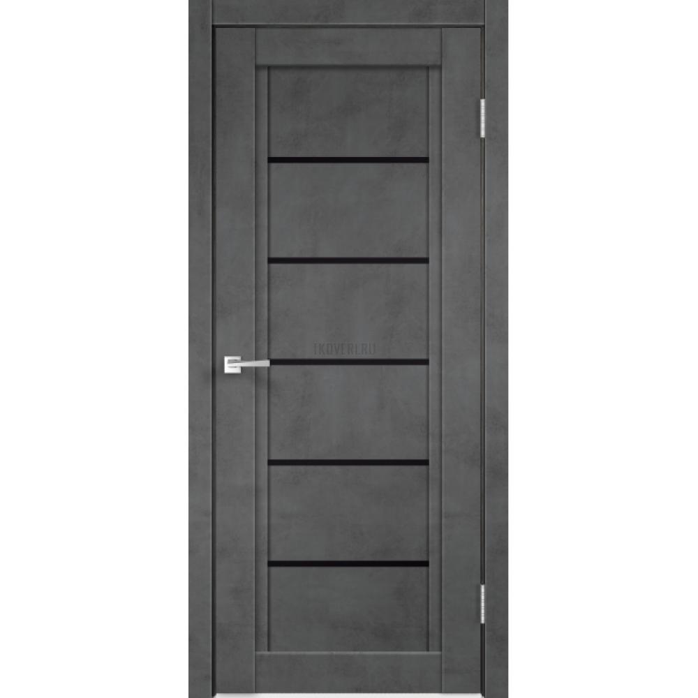Дверь Экошпон NEXT 1 цвет Муар темно-серый стекло Лакобель черное