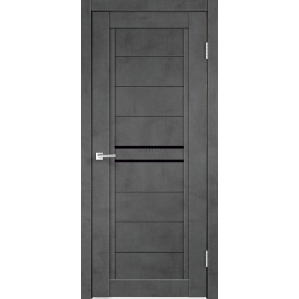 Дверь Экошпон NEXT 2 цвет Муар темно-серый стекло Лакобель черное