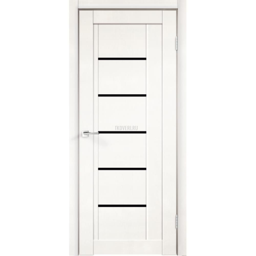 Дверь Экошпон NEXT 3 цвет Белый Эмалит стекло Лакобель черное
