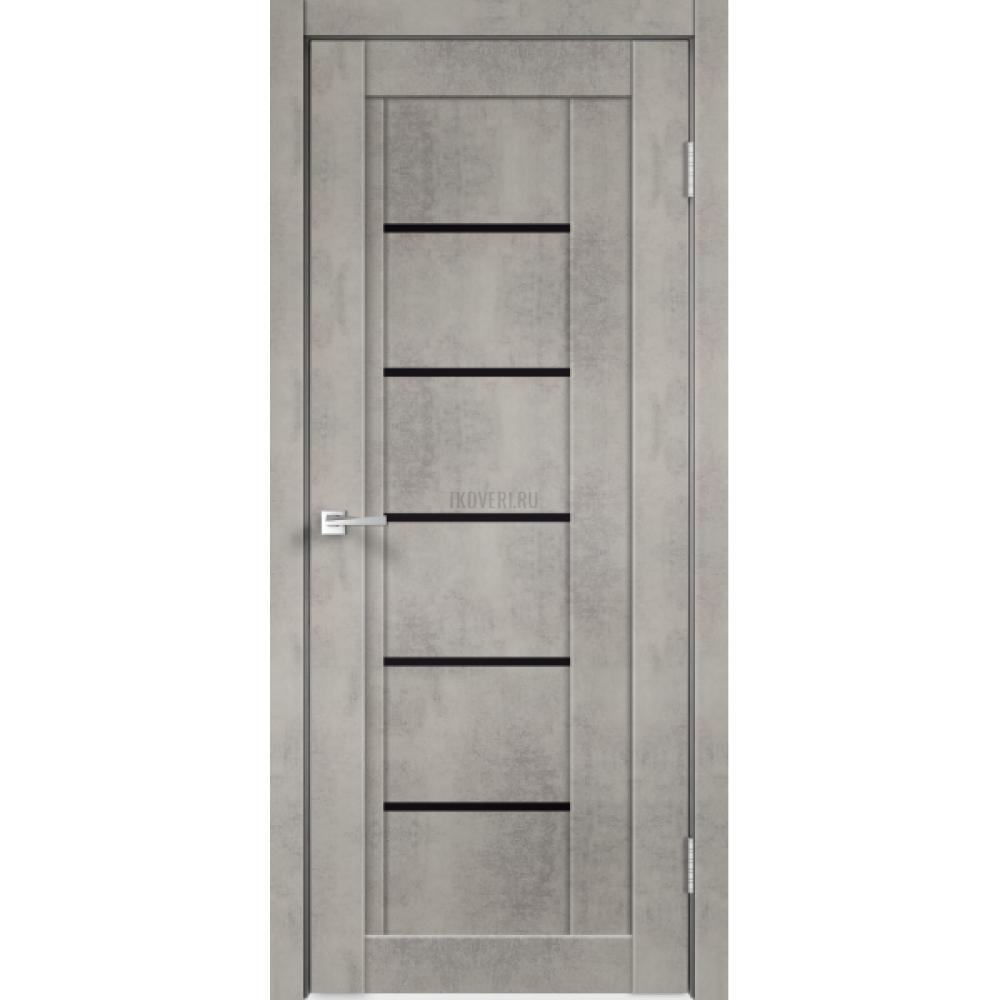 Дверь Экошпон NEXT 3 цвет Муар светло-серый стекло Лакобель черное