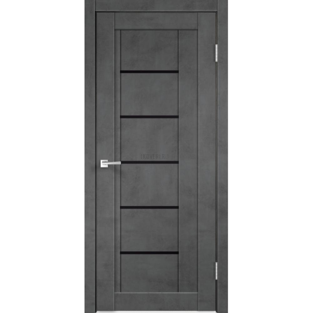 Дверь Экошпон NEXT 3 цвет Муар темно-серый стекло Лакобель черное