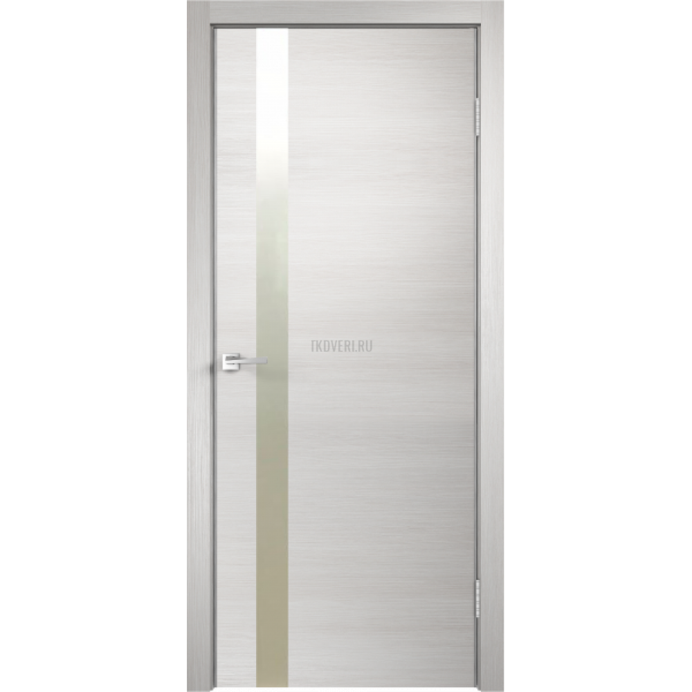 Дверь Экошпон TECHNO Z1 цвет Дуб белый поперечный зеркало Матированное