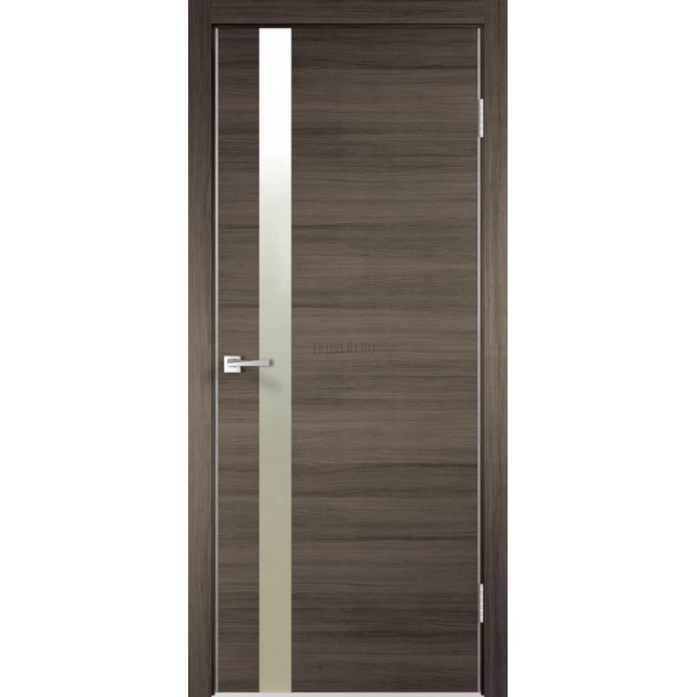 Дверь Экошпон TECHNO Z1 цвет Дуб серый поперечный зеркало Матированное