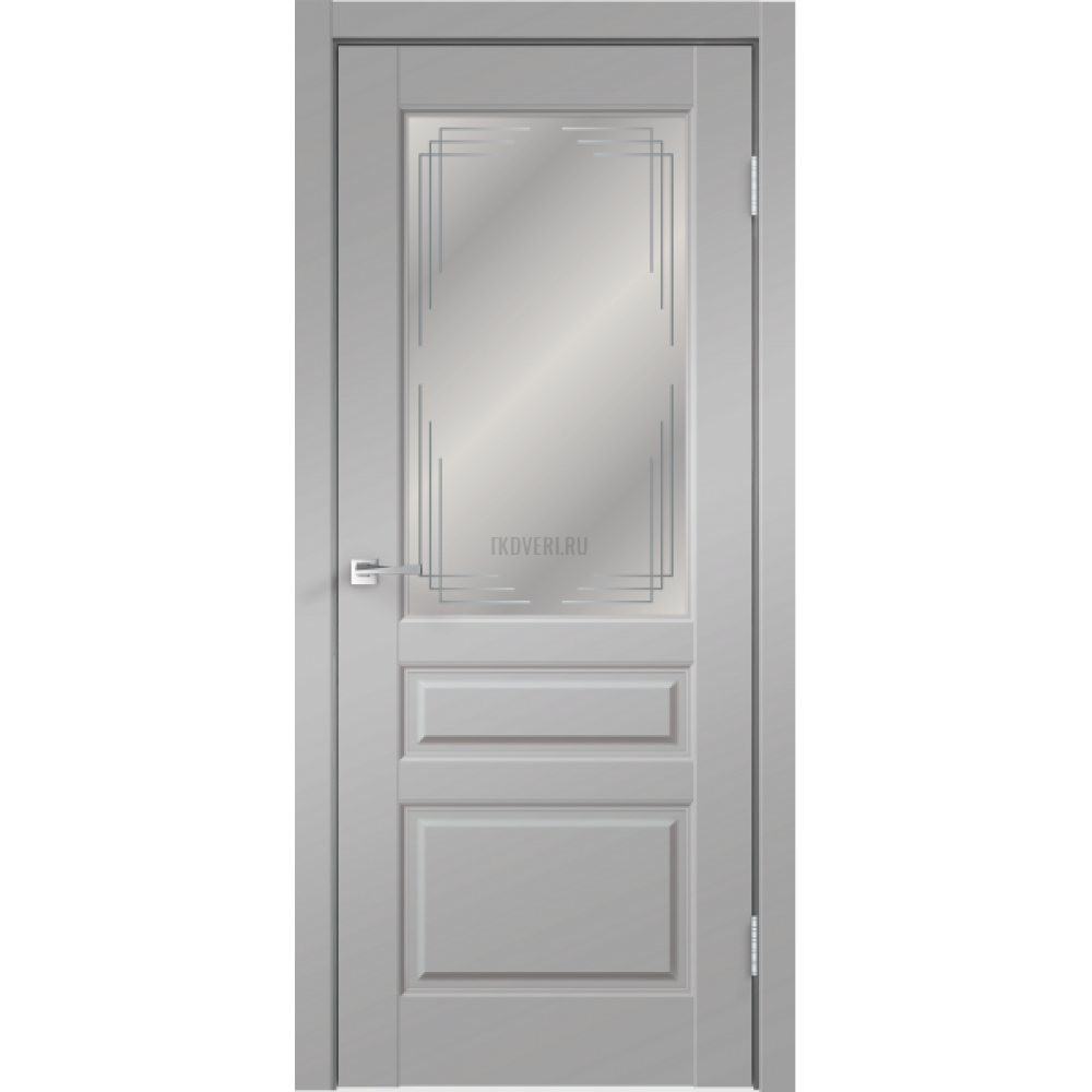 Дверь Экошпон VILLA 3V цвет Серый Эмалит стекло Грани Мателюкс