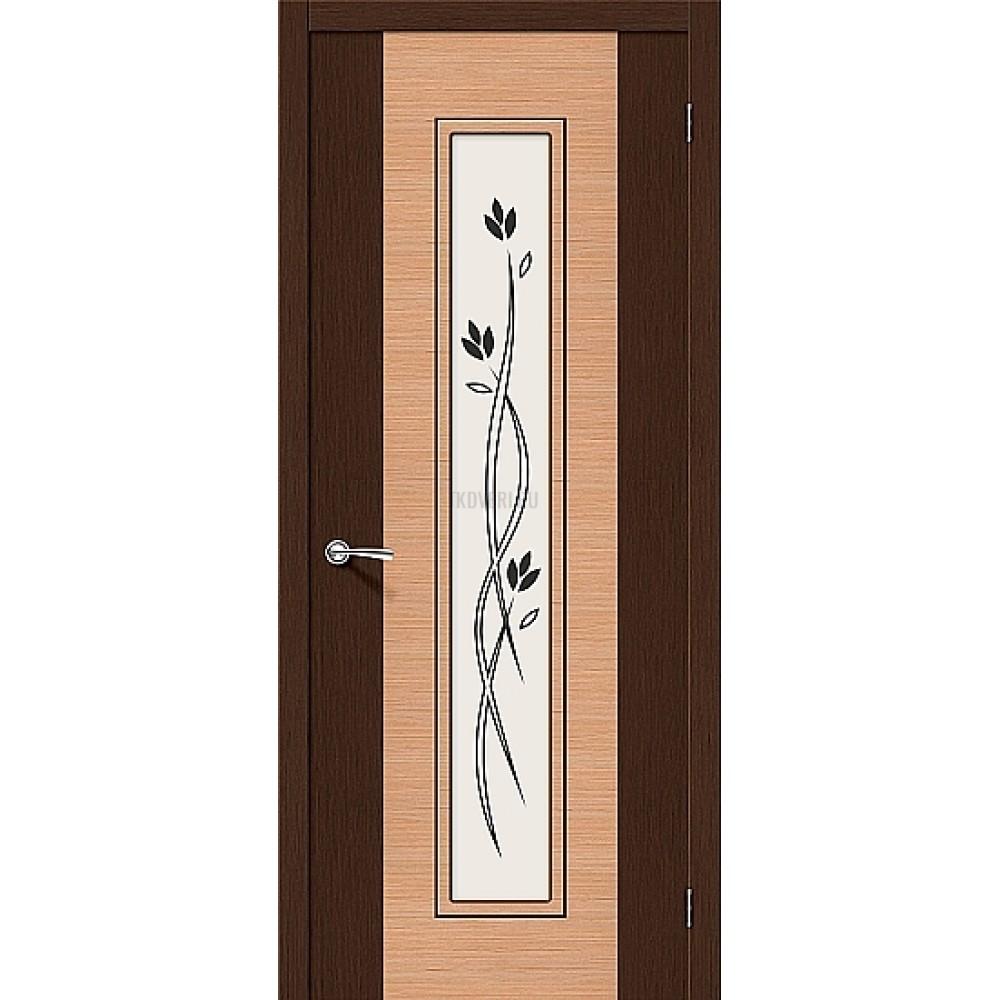 Межкомнатная дверь со стеклом Этюд со шпоном файн-лайн 003-0363 Венге/Дуб