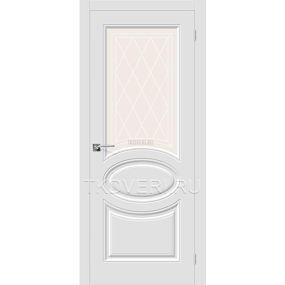 Дверь ПВХ Скинни-21 Белый остекленная