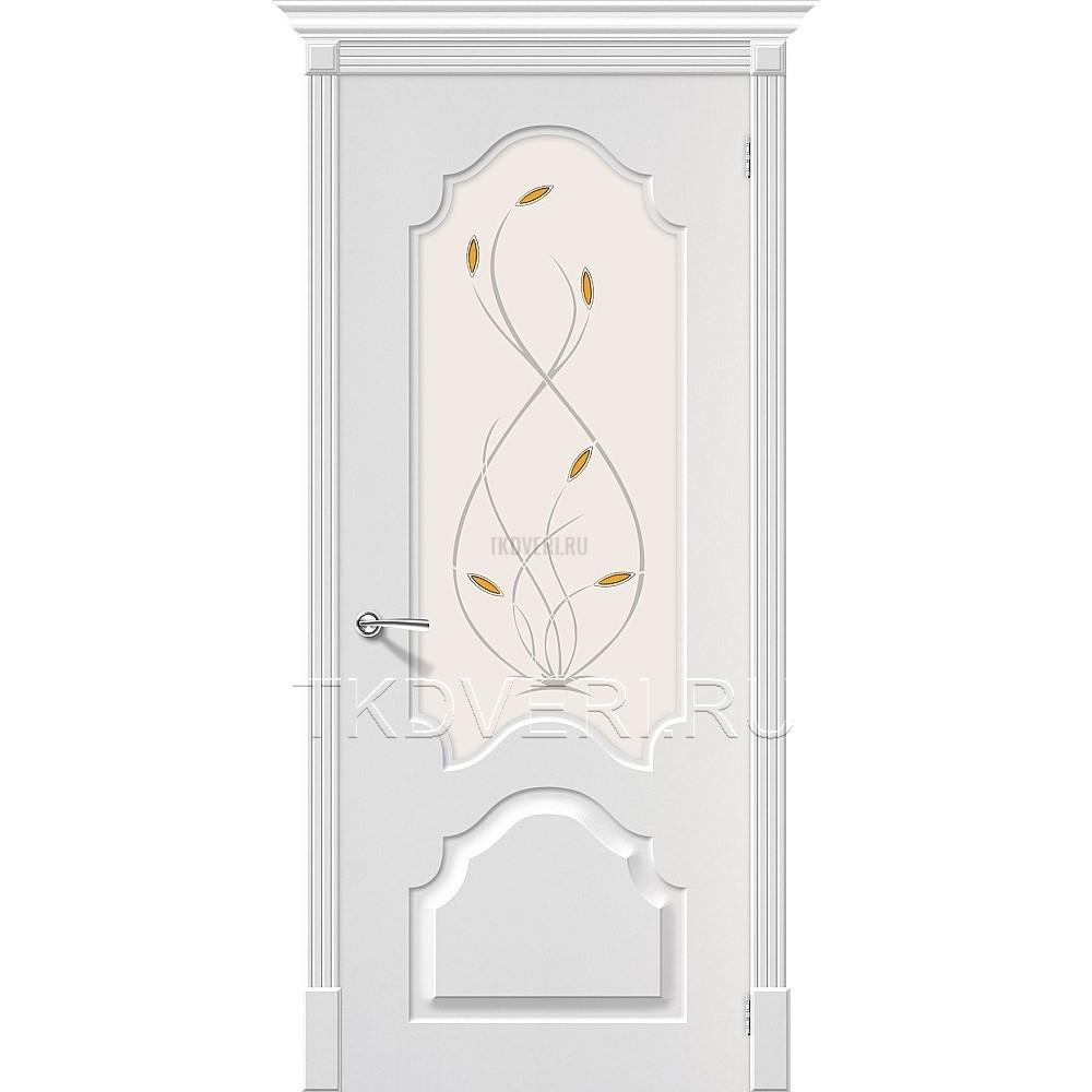 Дверь ПВХ Скинни-33 Белый остекленная
