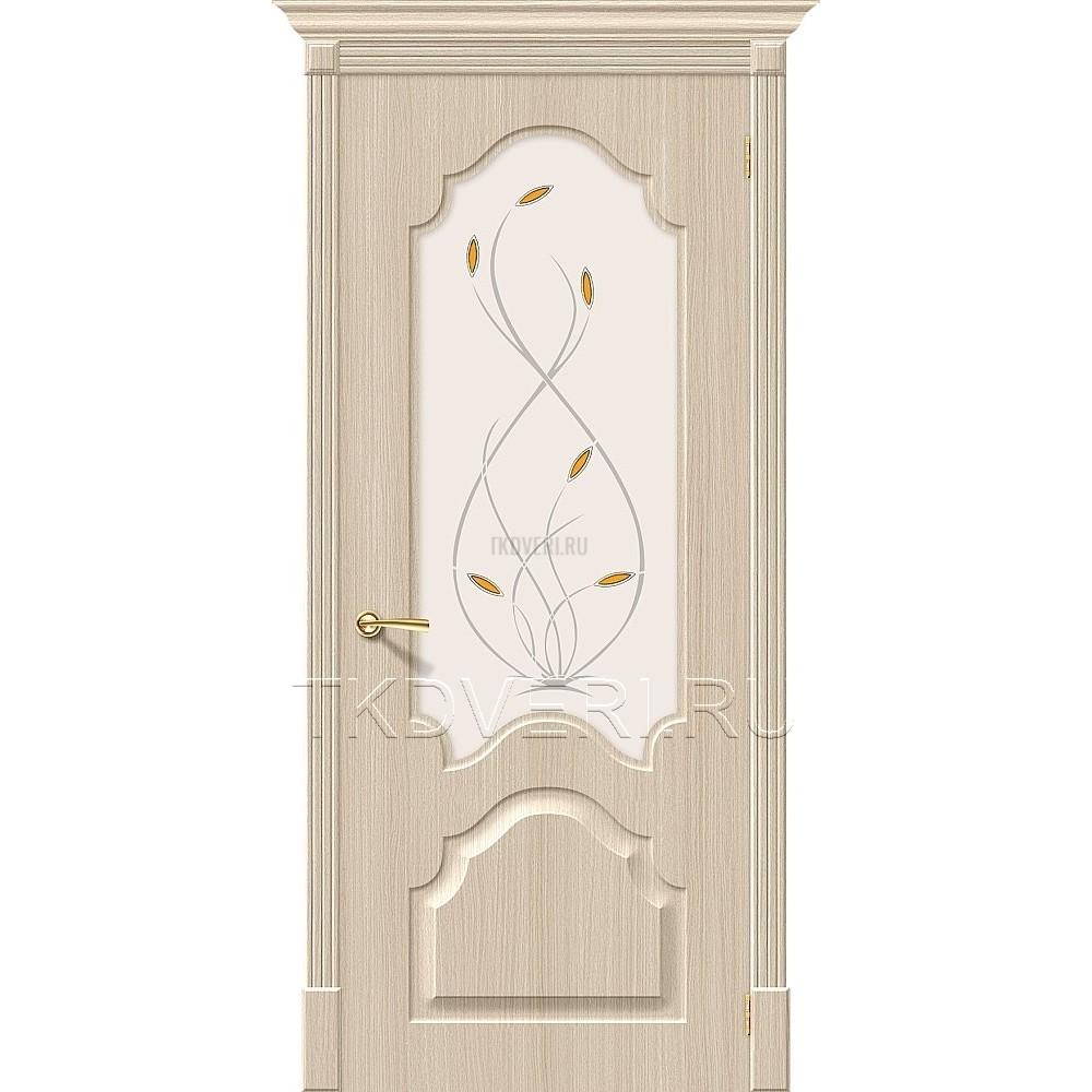 Дверь ПВХ Скинни-33 Беленный дуб остекленная