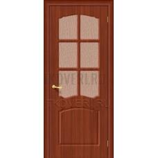 Дверь ПВХ Альфа Итальянский орех остекленная