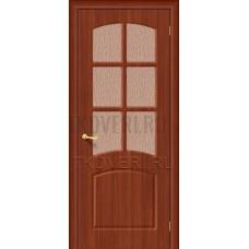 Дверь ПВХ Кэролл Итальянский орех остекленная
