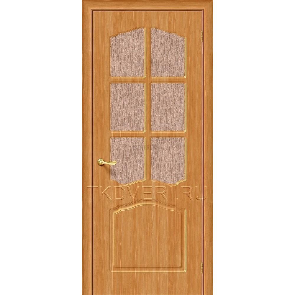 Дверь ПВХ Лидия Миланский орех остекленная
