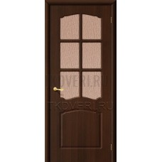 Дверь ПВХ Альфа Венге остекленная
