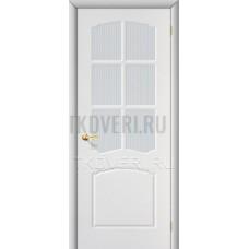 Дверь ПВХ Альфа Белый остекленная