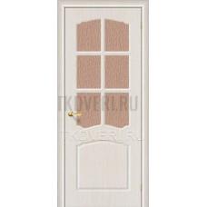 Дверь ПВХ Альфа Беленный дуб остекленная