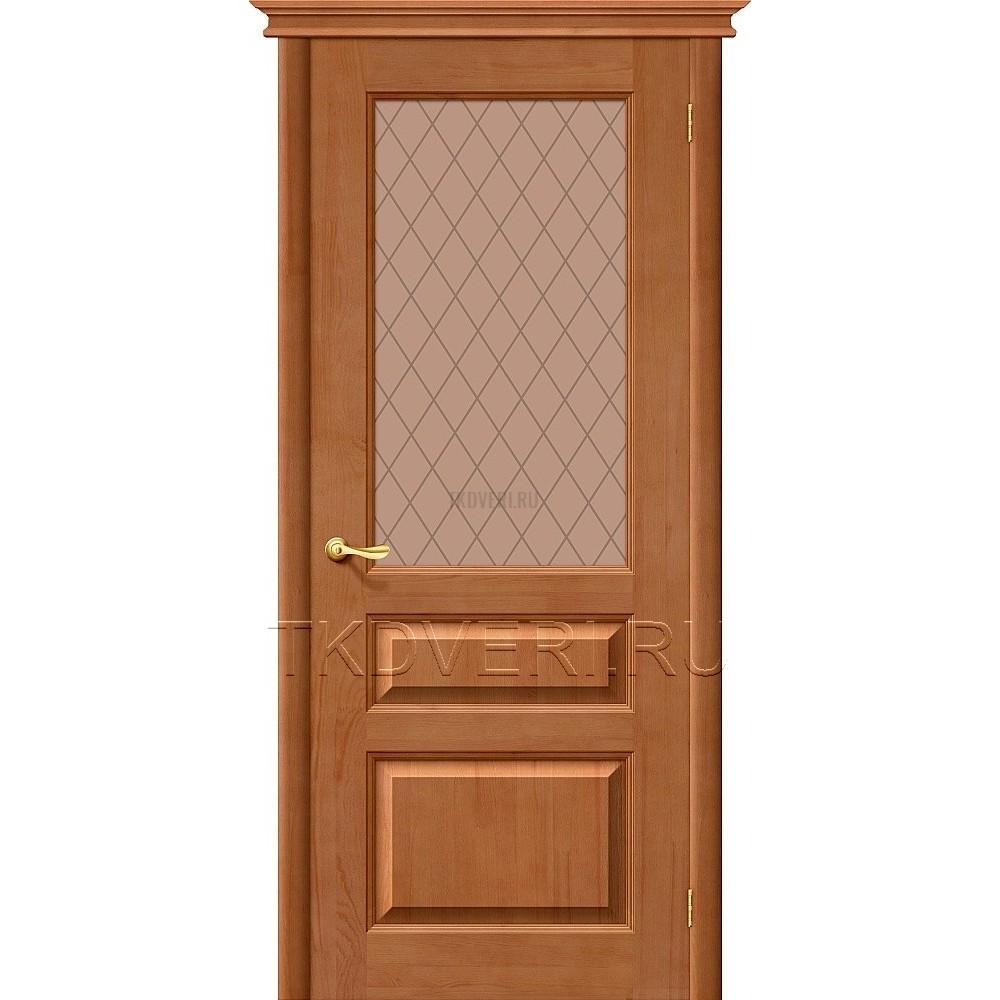 М5 Светлый лак остекленная дверь из массива сосны