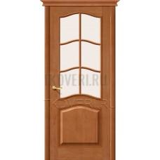 М7 Светлый лак остекленная дверь из массива сосны