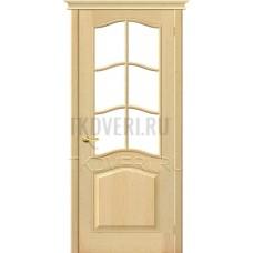 М7 дверь из массива сосны без отделки остекленная
