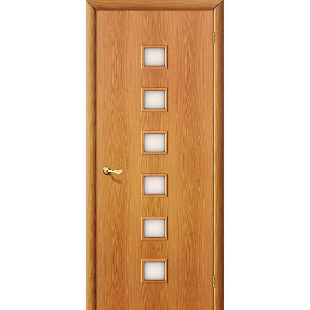 Ламинированная дверь МДФ со стеклом сатинато белое МиланОрех 010-0156