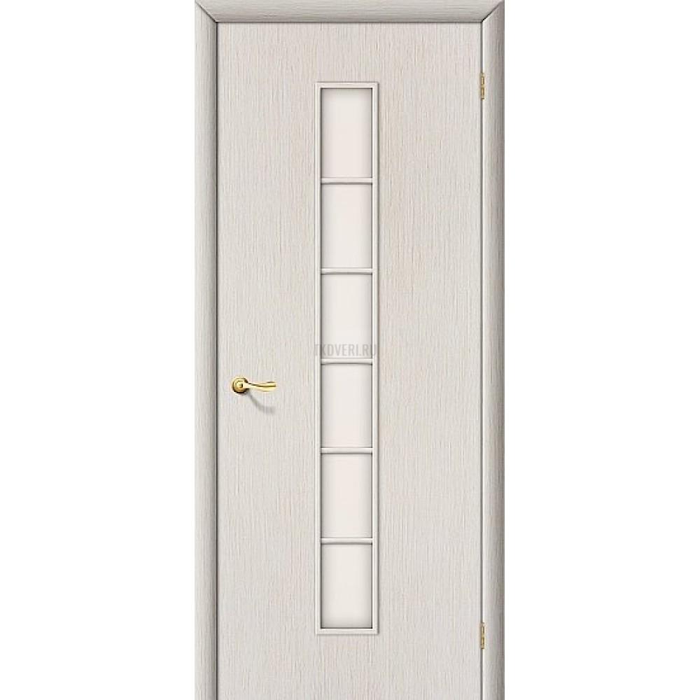 Ламинированная дверь со стеклом сатинато белое МДФ кромка ПВХ БелДуб 010-0317