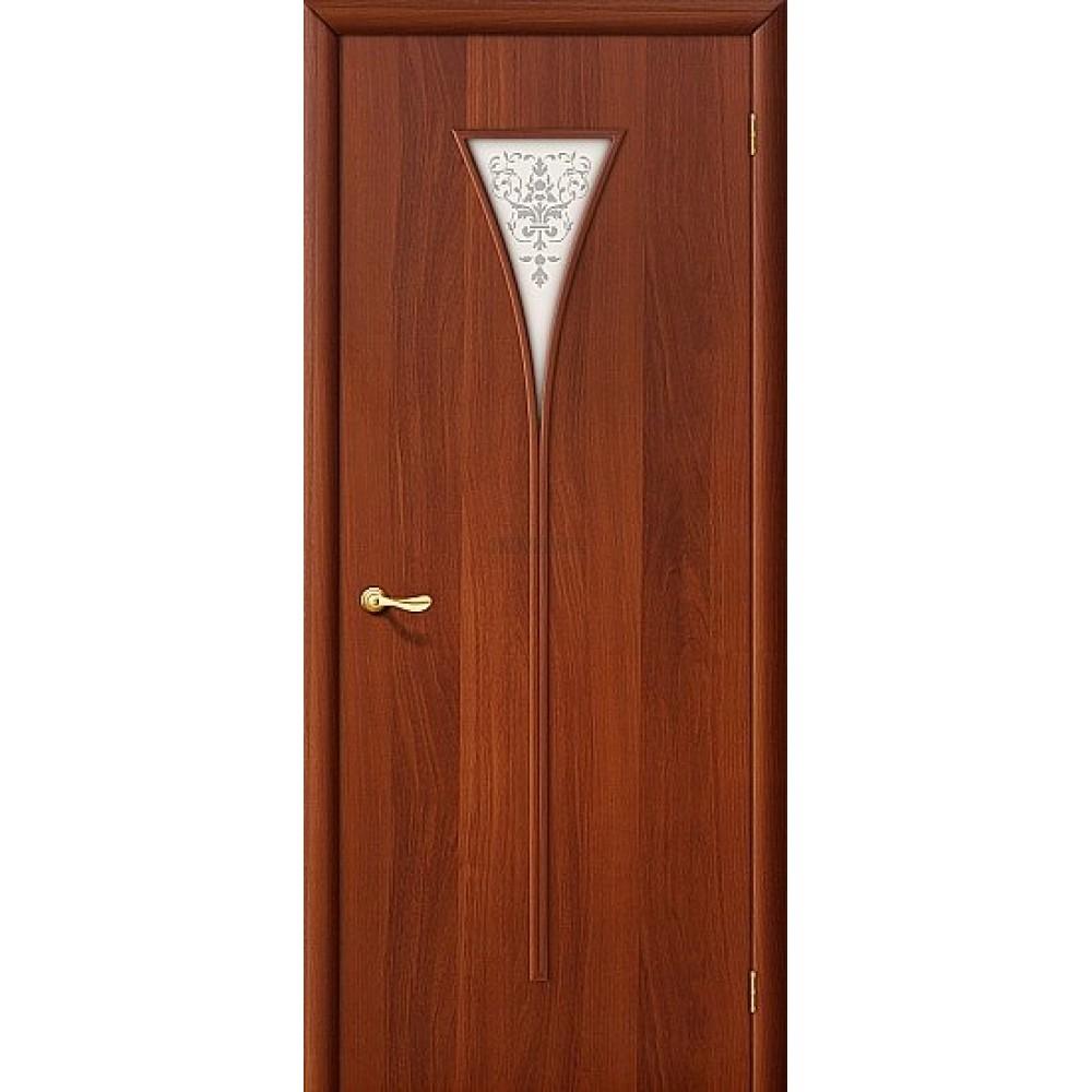 Межкомнатная дверь МДФ ИталОрех 010-0357 белое художественное стекло 190*55