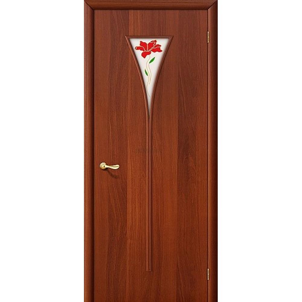 Межкомнатная дверь МДФ ИталОрех 010-0654 с художественным стеклом