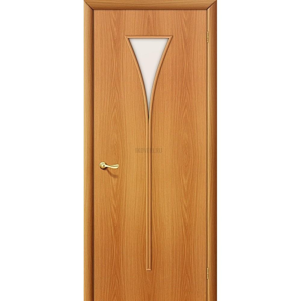 Межкомнатная дверь МДФ МиланОрех 010-0351 с белым стеклом 190*55