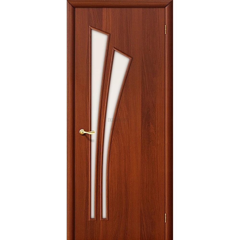 Межкомнатная дверь со стеклом МДФ с финишным покрытием ИталОрех 010-0382 190*55