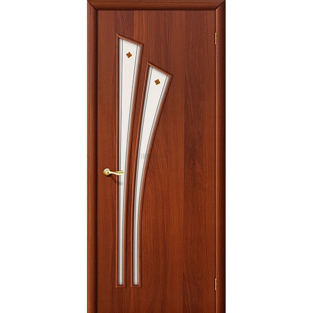 Межкомнатная дверь с художественным стеклом МДФ ИталОрех 010-0394 190*55
