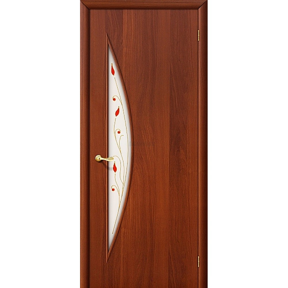 Ламинированная дверь с художественным стеклом из МДФ ИталОрех 010-0669 190*55