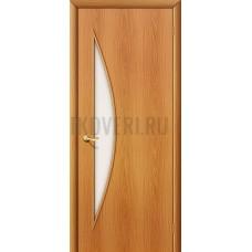 Ламинированная дверь с белым стеклом из МДФ МиланОрех 010-0437 190*55
