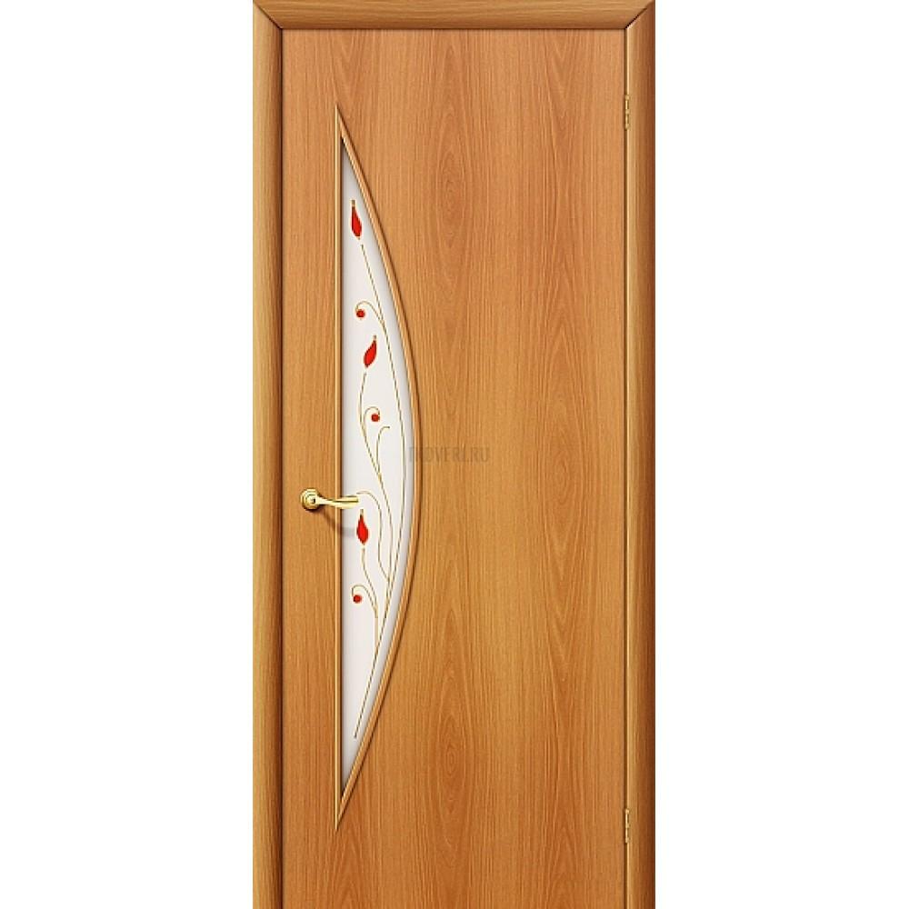 Ламинированная дверь с художественным стеклом из МДФ МиланОрех 010-0674 190*55