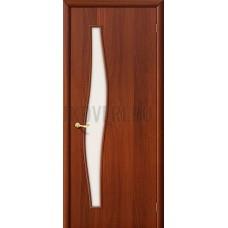 Ламинированная дверь из МДФ со стеклом без рисунка ИталОрех 010-0480