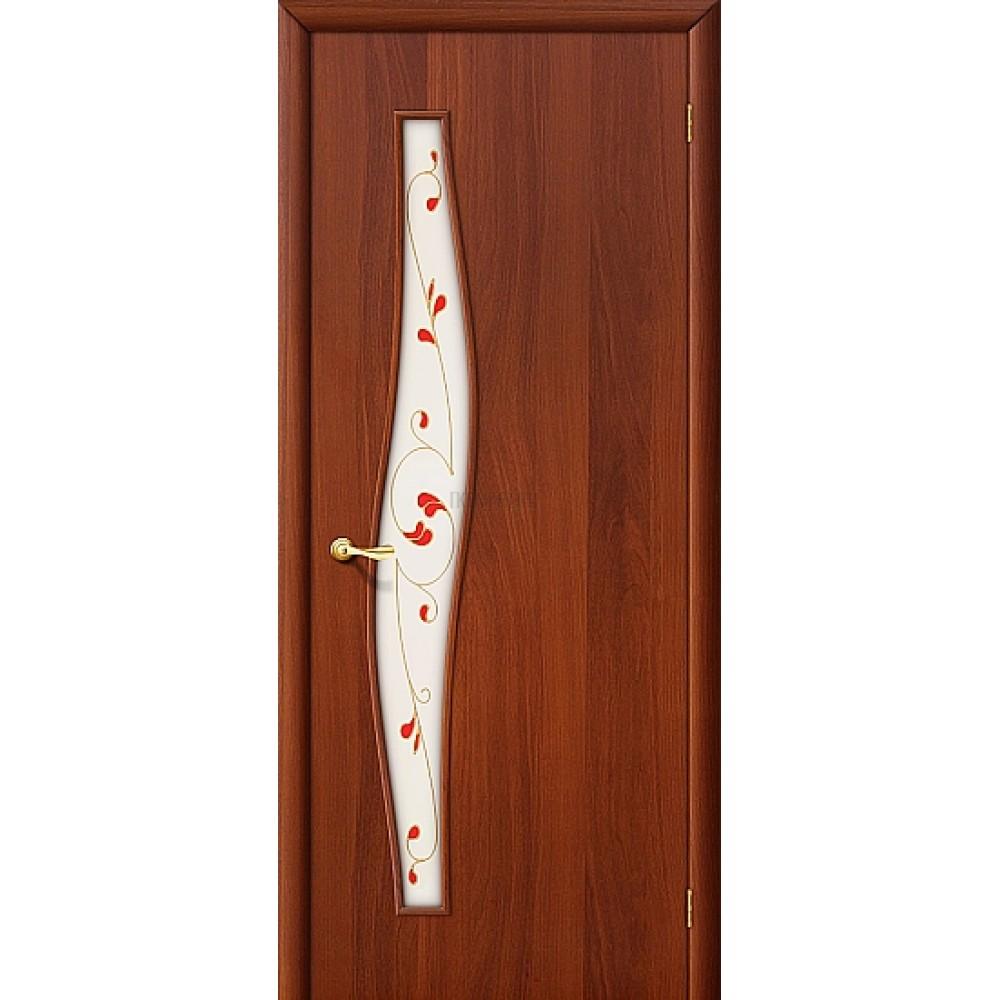 Ламинированная дверь из МДФ  с белым стеклом ИталОрех 010-0677