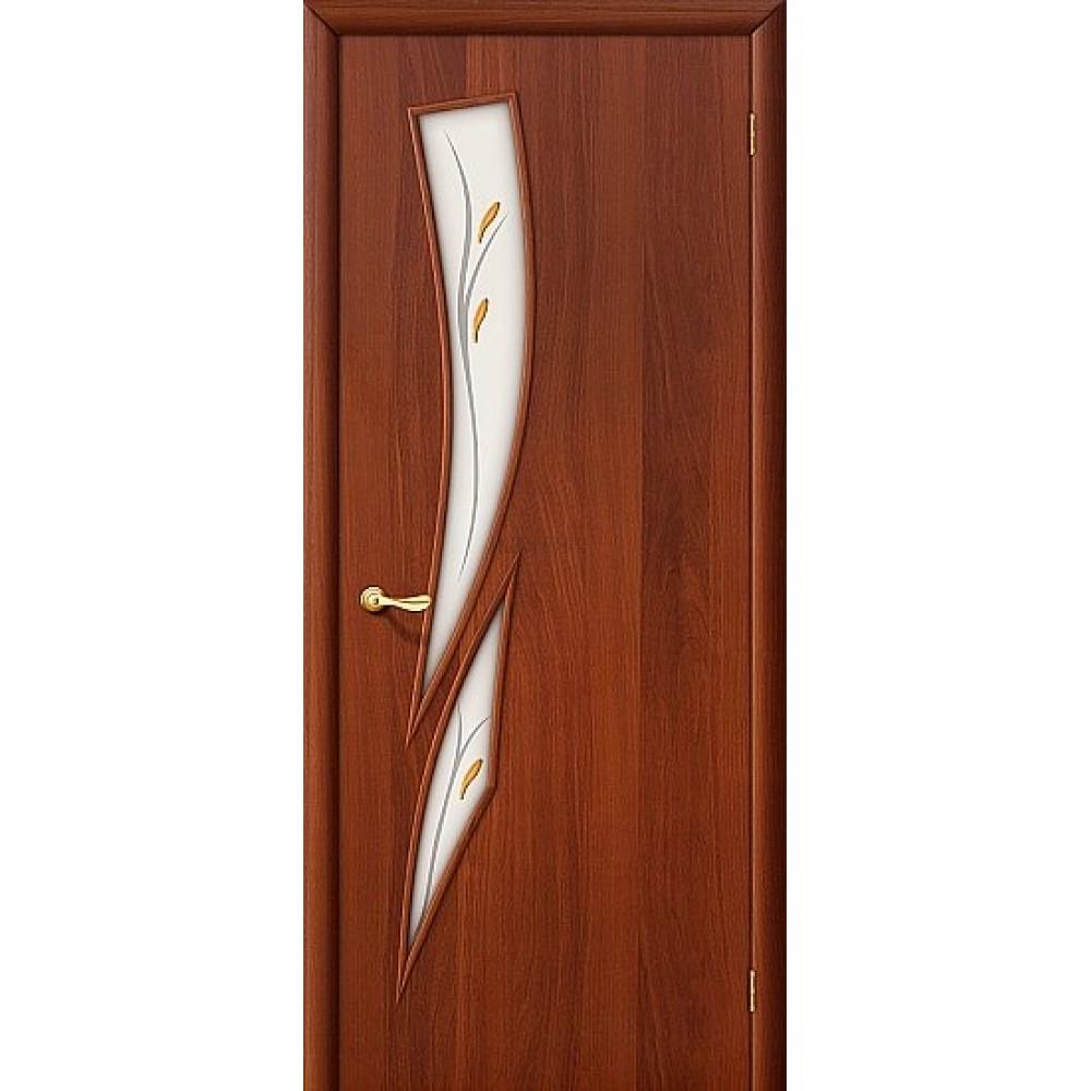 Ламинированная дверь МДФ с покрытием ПВХ стекло с фьюзингом ИталОрех 010-0544
