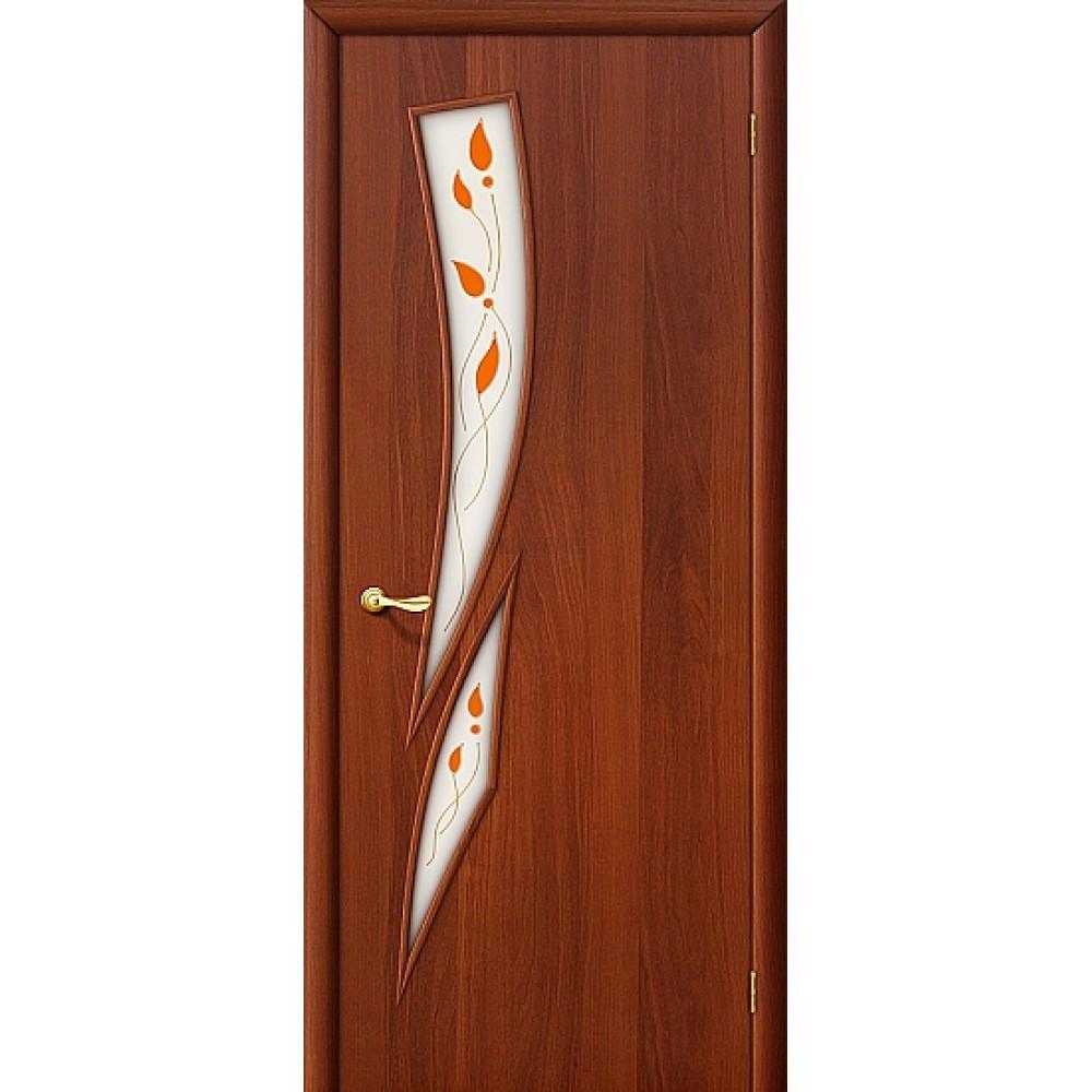 Ламинированная дверь МДФ с покрытием ПВХ с художественным стеклом ИталОрех 010-0684