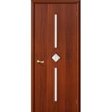 Дверь ламинированная из МДФ ИталОрех 010-0570 (с белым стеклом)