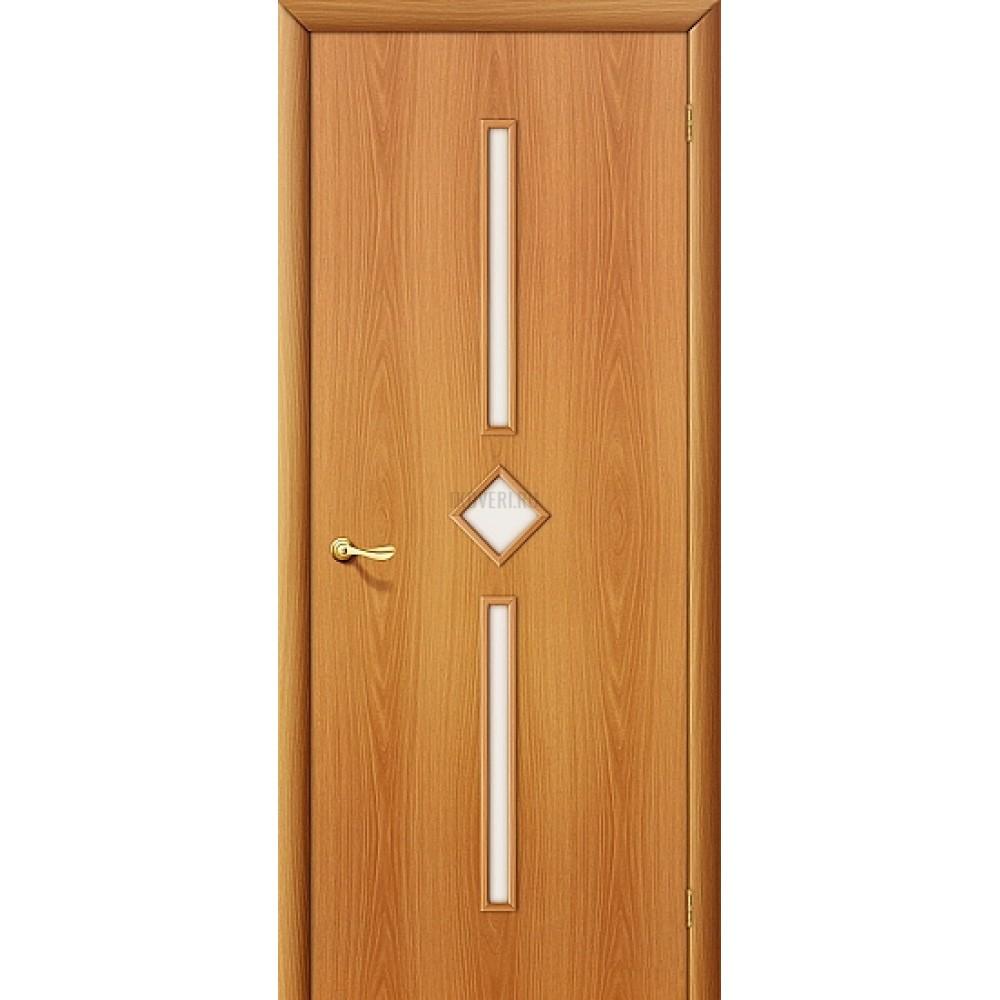 Дверь ламинированная из МДФ МиланОрех 010-0576 (с белым стеклом)