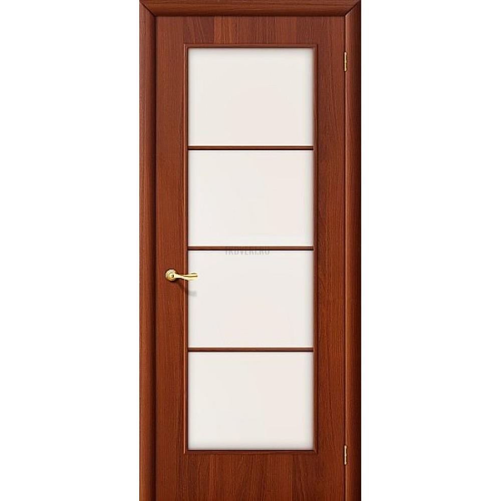 Ламинированная дверь с художественным стеклом МДФ ИталОрех 010-0013