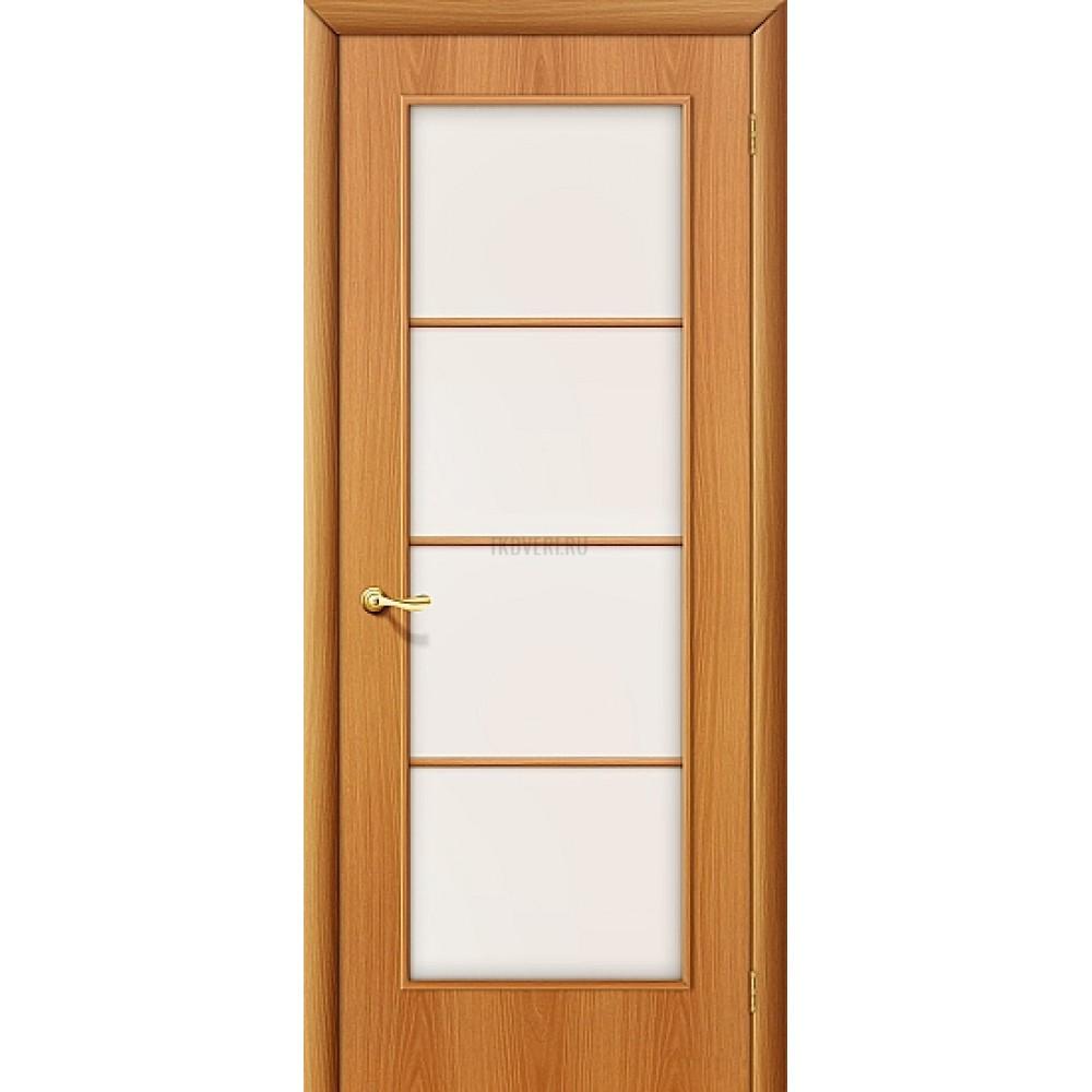 Ламинированная дверь с художественным стеклом МДФ МиланОрех 010-0020
