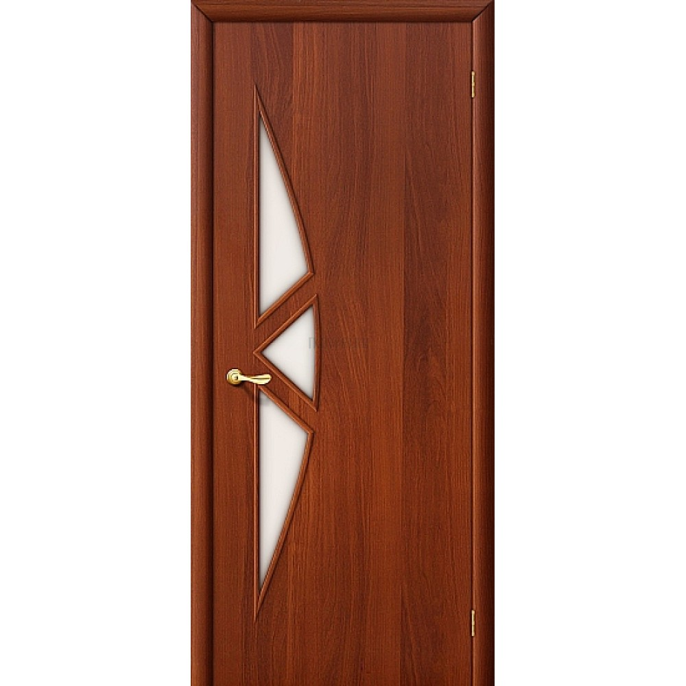 Ламинированная дверь со стеклом МДФ с финишным покрытием ИталОрех 010-0087