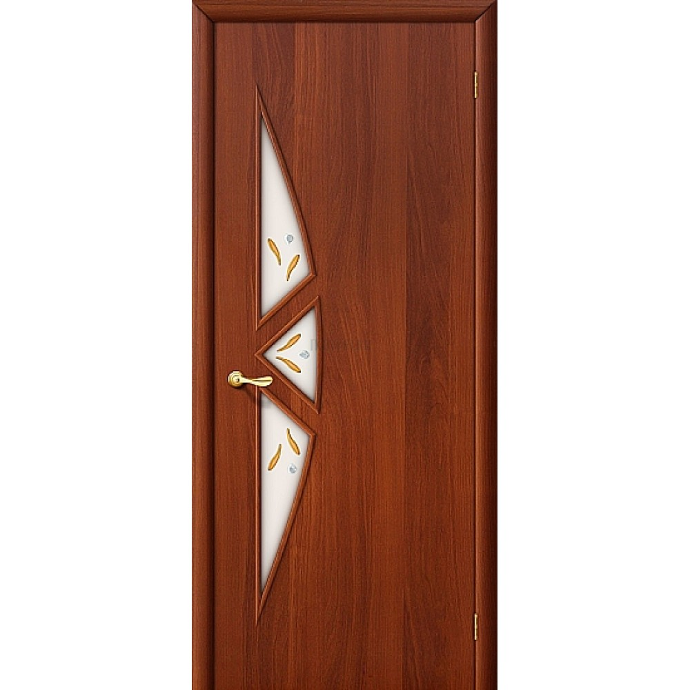 Ламинированная дверь белое художественное стекло МДФ ИталОрех 010-0638