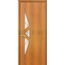 Ламинированная дверь белое художественное стекло МДФ МиланОрех 010-0641