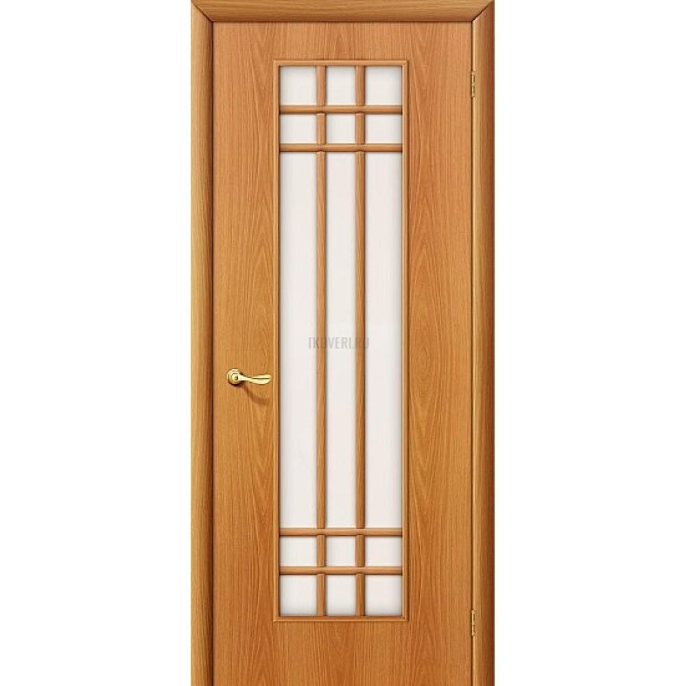 Ламинированная дверь стекло сатинато белое МДФ МиланОрех 010-0121