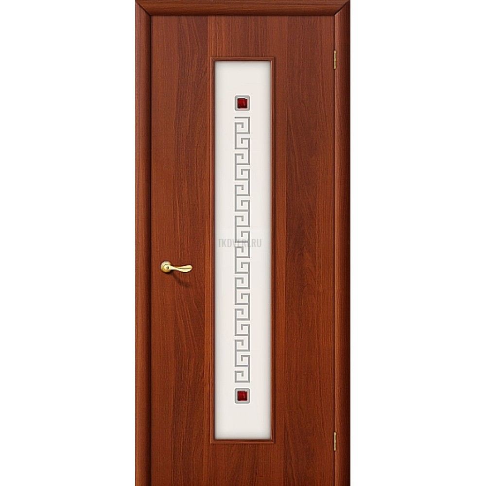 Ламинированная дверь с художественным стеклом МДФ ИталОрех 010-0182