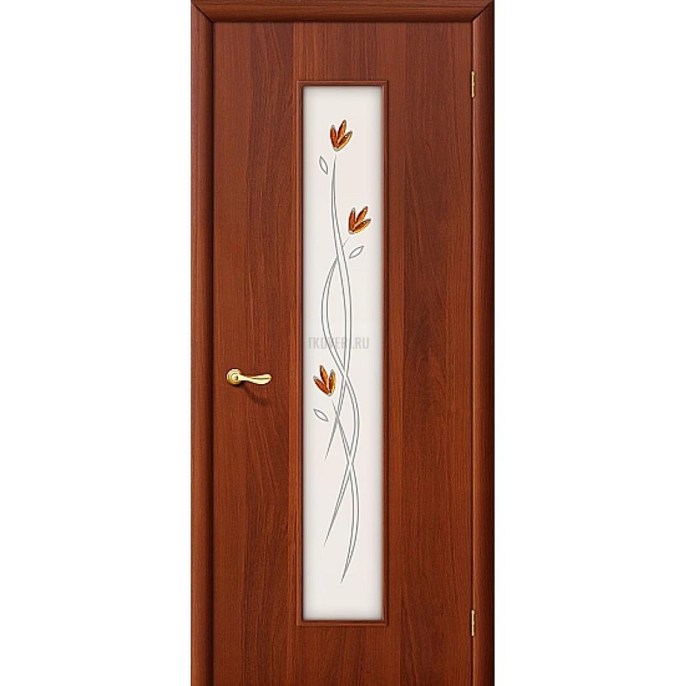 Ламинированная дверь со стеклом МДФ финиш-пленка ИталОрех 010-0194